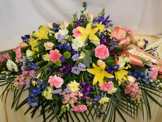 Sympathy Casket Spray Multi-color from Mischler's Florist and Greenhouses in Williamsville, NY