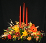 Thanksgiving 3 Candle Centerpiece from Mischler's Florist and Greenhouses in Williamsville, NY